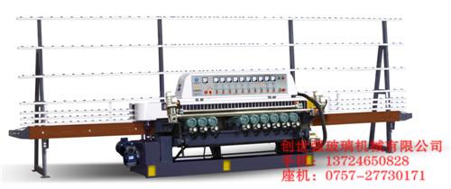 抛光及底边的磨削一次加工完成;该玻璃斜边机采用直接式磨头电机,结构
